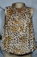 AGORA Ivory Brown Black Animal Print Sleeveless Top XL Smocked Waist and Neck