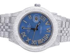 Mens Rolex Datejust II Full Iced 41MM 116300 Blue Dial Diamond Watch 17.5 Ct