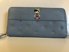 Disney Japan Exclusive Pinocchio Blue Embroidered Long Wallet Stud Gem