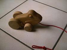 Holz Frosch auf Rädern Holzspielzeug  Nachziehtier naturbelassen ohne Metall