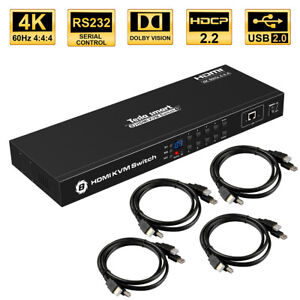8 Port KVM HDMI 2.0 Switch Switches Box Support 4K@60hz 4:4:4 HDCP 2.2 RS232