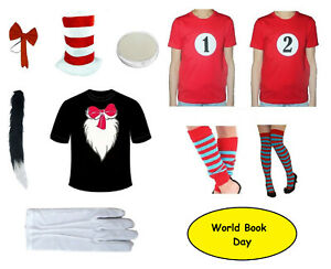Children's & Adults Cat T-shirt Hat Bow Tie Set Fancy Dress Book Costume In The