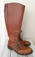 John Fluevog Nannette Adrian Tall Riding Flat Boots Size 6 brown tan steampunk