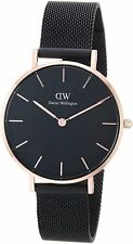 NEW DANIEL WELLINGTON DW00100201 BLACK 32MM PETITE ASHFIELD BLACK DIAL WATCH