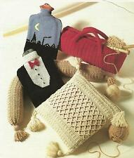 Knitting Pattern Cushion,  Hot Water Bottle, Draught  Excluder, Knitting Bag 259