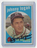 1959 BRAVES Johnny Logan signed card Topps #225 AUTO Autographed Milwaukee (D)