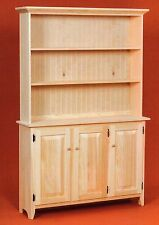 AMISH Unfinished Solid Pine ~ Rustic SIDEBOARD Buffet Storage Cabinet with HUTCH