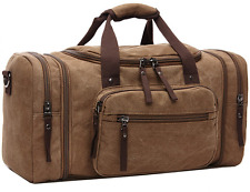 Mens Canvas Leather Holdall Satchel Bag - Travel Duffle Overnight Weekend Totes