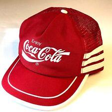 Vtg 70-80's Coca Cola COKE Mesh TRUCKER Hat RED Baseball Cap USA MADE Soda Pop