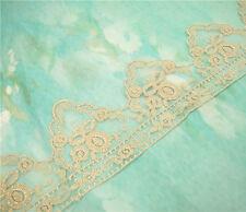 Bridal Lace TRIMMING floreali ricamati TAGLIA NASTRO ORO NOZZE Pizzo Bordatura