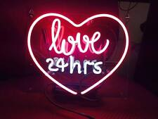 """Neon Light Neon Sign Glass Home Store Club Wedding POSTER LOVE YOU 24 Hrs 10""""X9"""""""