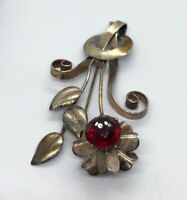Vintage Sterling Silver Brooch Pin 925 Gold Tone Modernist Flower Rhinestone