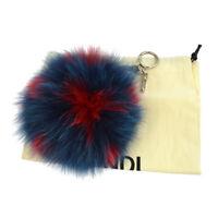 Authentic FENDI Pom Pom Bag Charm Fur Key Holder Blue Red Silver NR11704b
