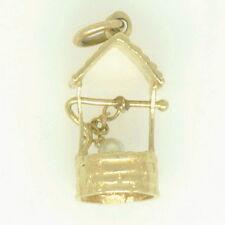 Ladies 14k Yellow Gold Pearl Wishing Well Charm Estate Pendant