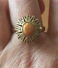 14K Yellow Gold Semi Black Mexican Fire Opal Sunburst Ring