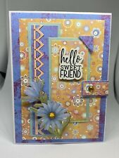 Handmade greeting card Hello Sweet Friend Blue Flowers Very Cute For You 3D