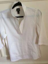 Eileen Fisher Women's White Linen Tunic Blouse Shirt Size Petite XS