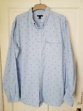 MENS GAP PALE BLUE ANCHOR SHIRT.  Long Sleeve Slim Fit Size XL