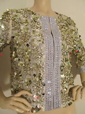 NEW  ST JOHN KNIT COUTURE SZ 0  JACKET CRYSTALS & SEQUINS GOLD & SILVER