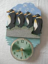 Hand crafted wooden 'Penguins' clock