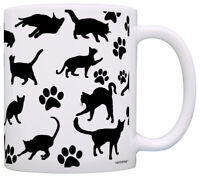 Cat Lover Gifts Cats and Pawprint Pattern Coffee Mug Tea Cup
