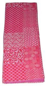 Indian Vintage Patchwork Kantha Quilt Throw Reversible Cotton Gudari Twin Rali