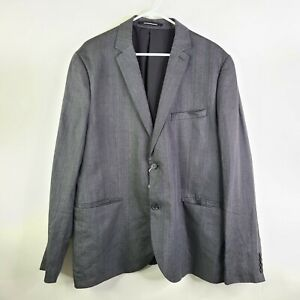 NWT H&M Gray Natural Linen Two Button Suit Jacket Blazer Size 48R
