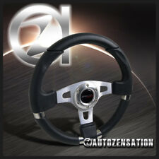 340MM JDM Racing Sport Aluminum Steering Wheel with Black PVC Leather+Stitching