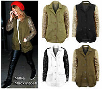 NEW WOMENS KHAKI GOLD GREEN SEQUIN SLEEVE LADIES MILITARY COAT JACKET 8-10-12-14