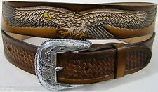 MEN'S BELTS casual western accessories BROWN LEATHER EAGLE & CONCHO BELT 50 NEW!