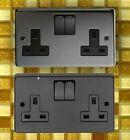 13AMP DOUBLE / TWIN PLUG SOCKETS. BLACK NICKEL OR MATT BLACK. DOUBLE SOCKETS