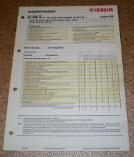 Inspektionsblatt Yamaha XJ 600 S Typ RJO14 (25 KW) Baujahr 1998