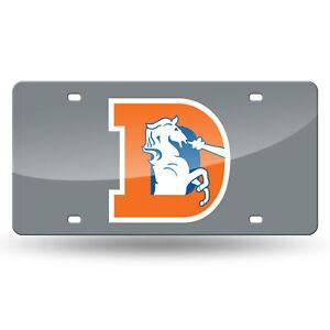 Denver Broncos Retro Mirrored Laser Cut License Plate Laser Tag