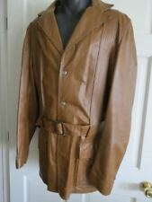 Vintage Mens Scully Brown Leather Belted Trench Coat Jacket 44 Long