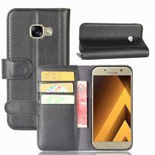 Wallet Case Echt Leder Innenfach Etui Tasche Schwarz für Samsung Galaxy A5 2017