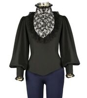 Chic Star Black High Collar Victorian Top Governess Lace Gothic Blouse 8021