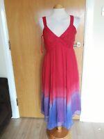 Ladies MONSOON Dress Size 10 Pink Purple Ombre Silk Chiffon Party Wedding Races