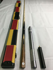 HANDMADE 3/4 JOINTED EBONY ASH SNOOKER / POOL CUE + CASE + EXTENSION 8.5MM TIP