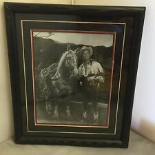 ROY ROGERS AND TRIGGER BLACK AND WHITE PHOTO SILVERING IN FANTASTIC 1950 S PHOTO