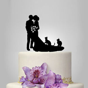 Romantic Acrylic Black Bride Groom Silhouette With Two Cats Wedding Cake Topper