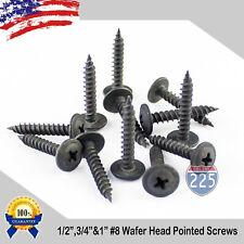 8 Black Wafer Head Pointed Metal Screws 12 34 1 Phillips Truss Head Usa