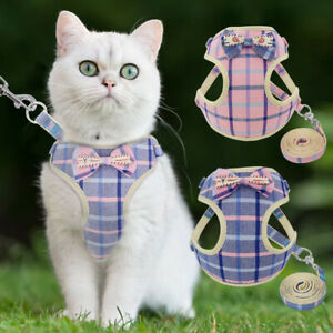 Cat Walking Jacket Harness and Leash Set Escape Proof Pet Dog Mesh Bowtie Vest