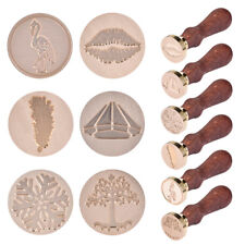1x Vintage Wooden Handle Brass Pattern Seal Wax Stamp Head Invitation Card Gift