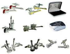 GUITARS Music Instrument Cufflinks Mens Gifts  +personalised engraved metal case
