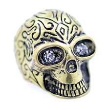Vintage style heavy and chunky bronze skull ring biker punk goth, UK Size N