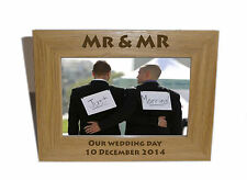 Mr & Mr Celebration Wooden Frame 8x6 - Personalise this frame - Free Engraving