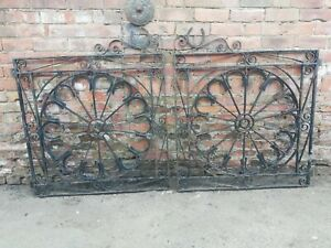 Pair wrought iron gates driveway gates horseshoe design blacksmith made vintage