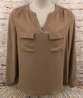 Milano Womens Top Blouse Sz Large Taupe Tan V-neck Long Roll up Sleeve Pullover
