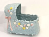 Vtg Napco Baby Bassinet Planter Blue pink bows flowers texture NICE! Japan 8575
