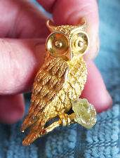 Vintage Tortolani owl brooch with green rough gemstone, Exc. Cond.